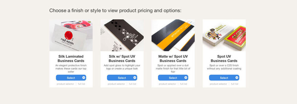 We offer a variety of business cards for you to choose from. We made it a lot easier! The category page provides you with a photo and brief description of each finish and style. Click on the style that you are interested in to view the product page.