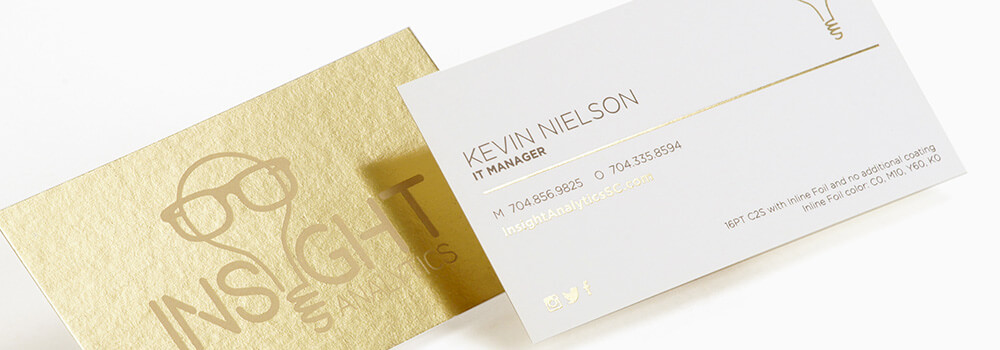 Enhance your business card with gold inline foil.