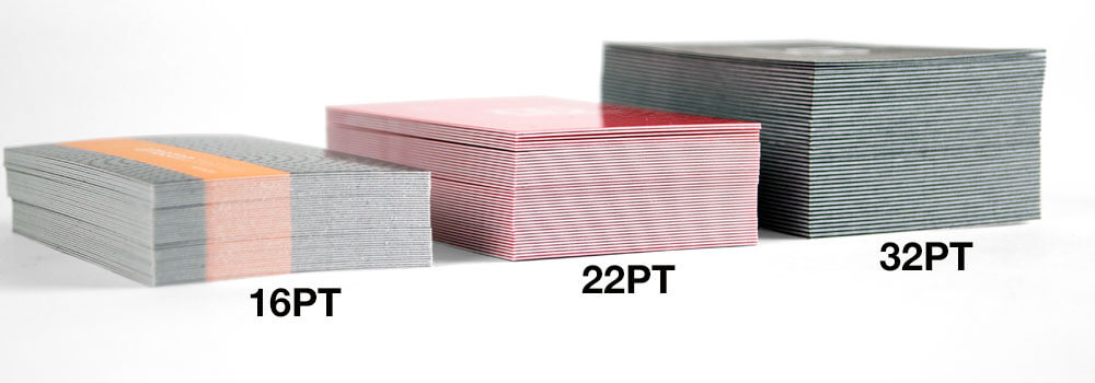 Below demonstrates the thickness compared to our 16PT matte business card and our 22PT gloss laminated business card.