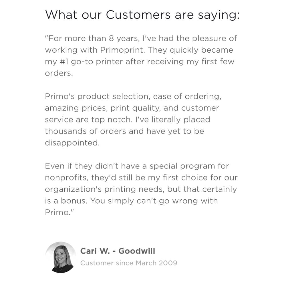 Nonprofit printing from Primoprint. Best prices, priority support and easy online ordering tools.