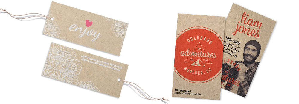Our brown 18PT uncoated Kraft business cards provide a rustic, beautiful appearance and feel. This environmentally friendly paper stock offers natural fibers and subtle, visible flecks giving them an organic appearance and natural feel.
