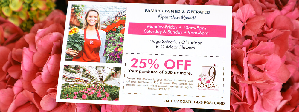 Include a coupon code in your postcard design to bring in new business.