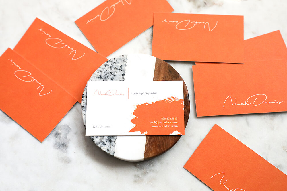 Make a statement with these 32PT thick business cards. Include the appropriate information.