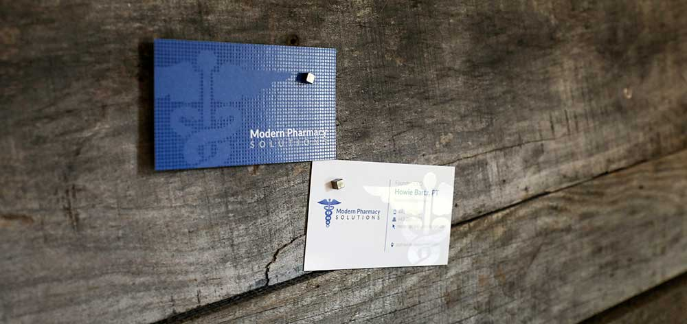 Blue business card with Spot UV. The color Blue is known for evoking feelings of trust, dependability, and strength.