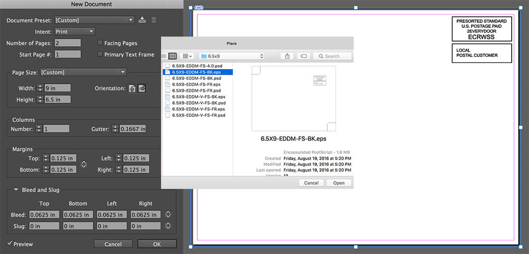 InDesign indicia file placement for the back of 6.5 x 9 full-service EDDM postcards.