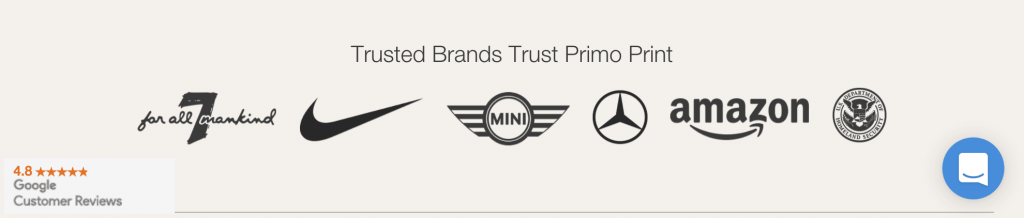 Primoprint Google Customer Reviews: Trusted Brands that Trust Primoprint