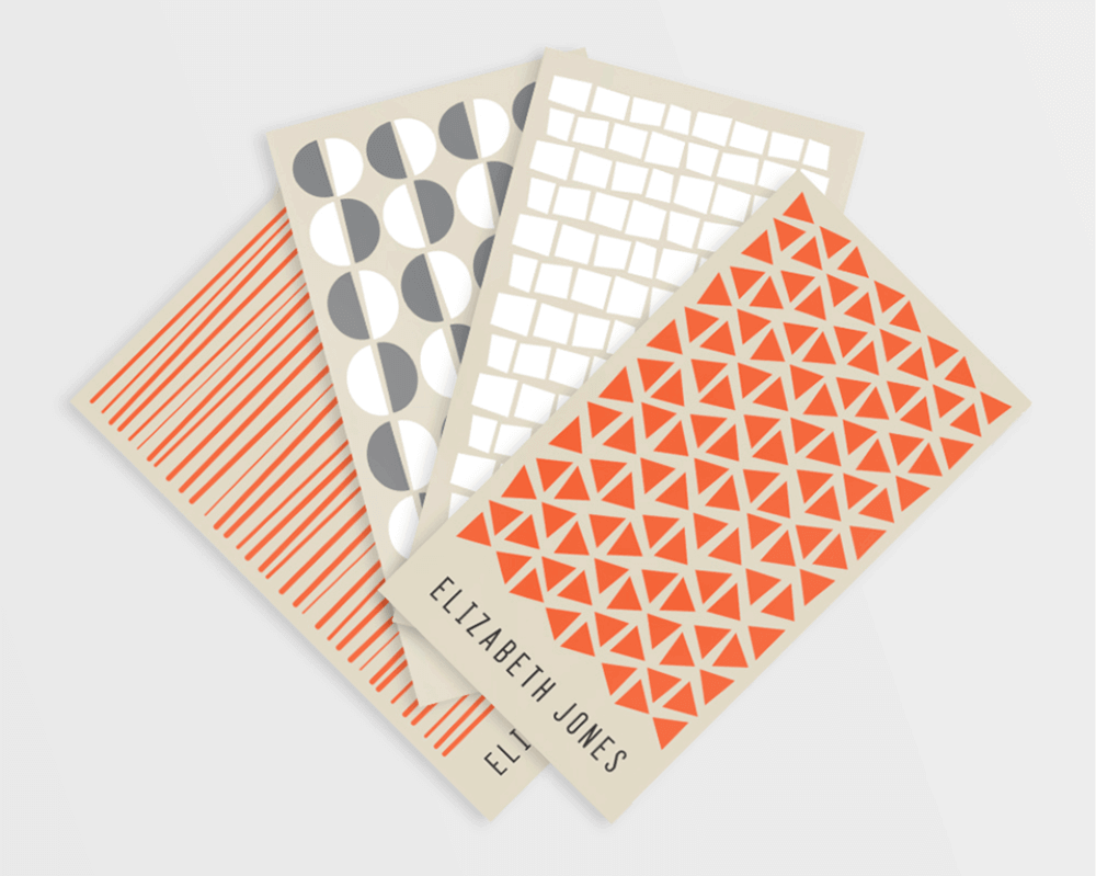 Mitzi Wickersham often uses pattern design in her business card designs.