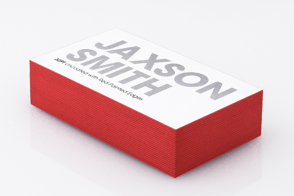 Get noticed with our 32PT thick business card with Red Painted Edges.