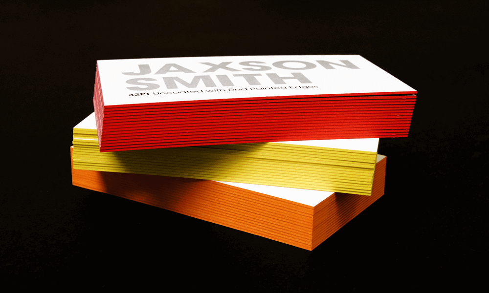 Painted Edge Business Cards. Now Offering new exciting colors: Pearlescent Orange, Pearlescent Yellow and Flat Red.