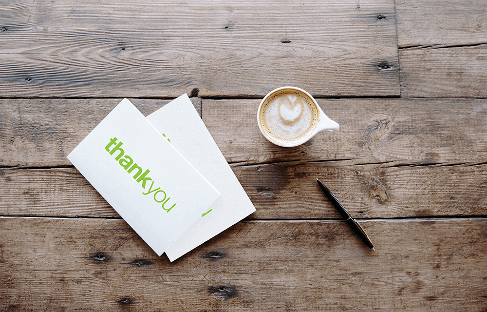 Connect with your clients by writing personalized messages in your branded thank you cards.