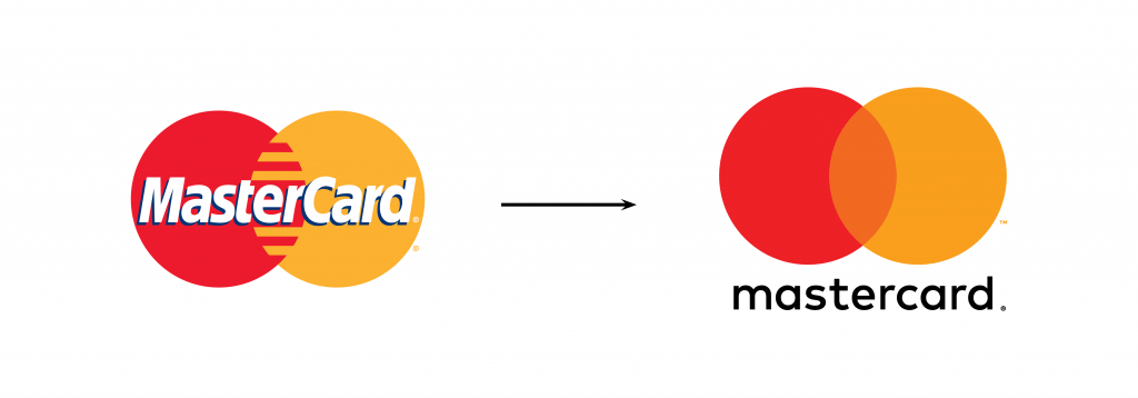 Mastercard simplified their logo, which has become a recent logo trend.