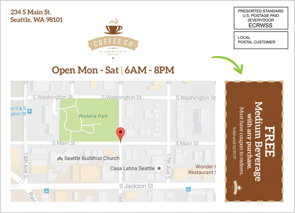 This is an example of a Coffee shop using an EDDM® Postcard offering a free medium beverage.