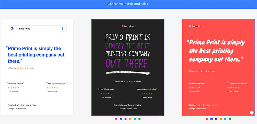 You can select from a variety of options for your Google Review Posters