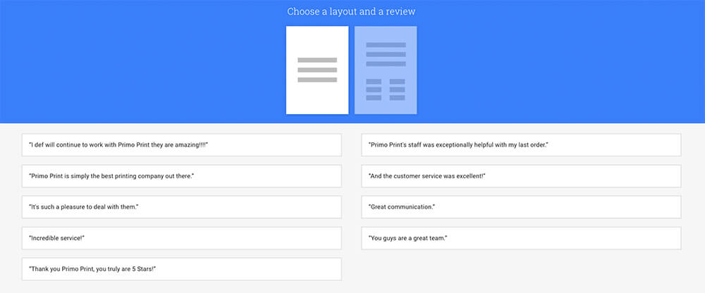 It's easy to choose a layout for your #SmallThanks Poster Review