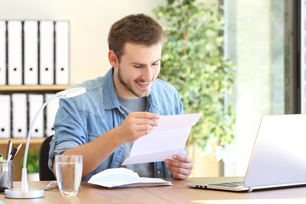 Guy Looking at a Custom Business Letterhead