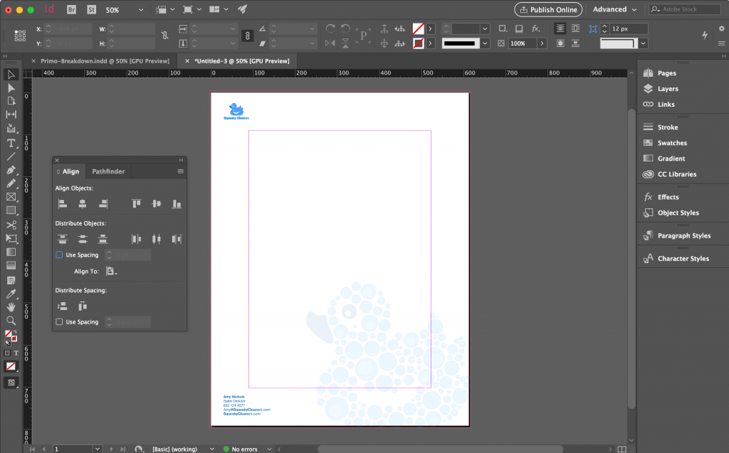 Indesign Software Letterhead Template Setup
