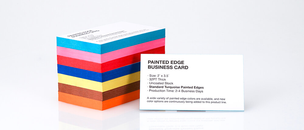 New Painted Edge Business Card Colors. Select from a variety of pearlescent and standard colors.