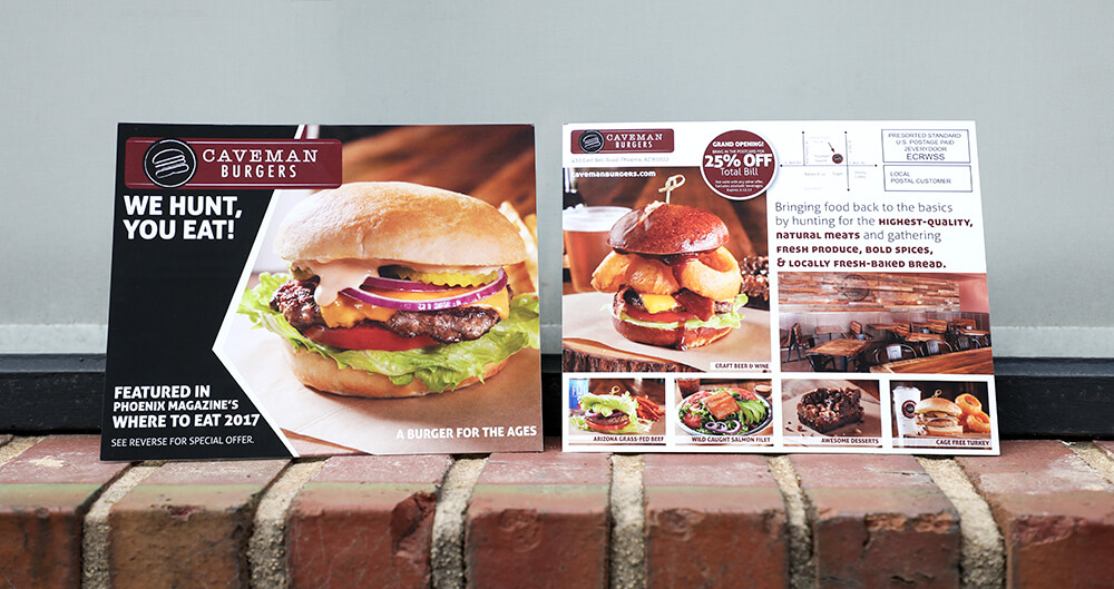 Build awareness with postcard marketing. These oversized postcards allow you to include coupon codes, discounts and announcements to get potential customers excited about your business.