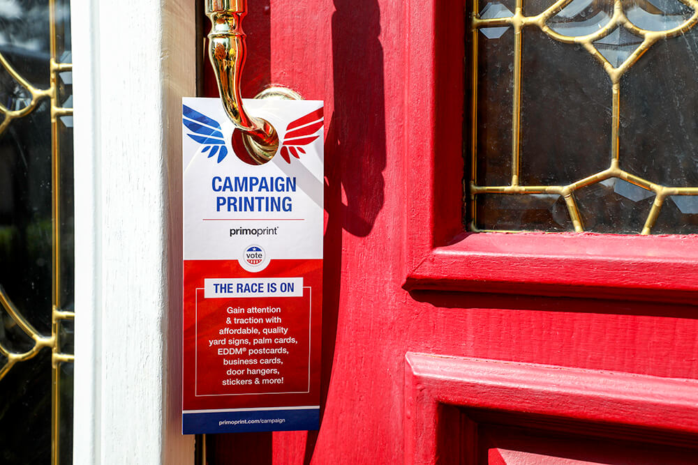 Bring your message to their front doors with premium door hangers.