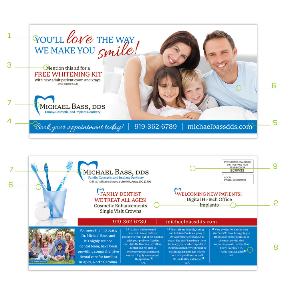 View some helpful tips for a successful postcard design. We offer EDDM® templates to ensure proper requirements.