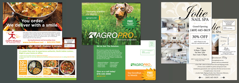 Some well designed Every Door Direct Mail® postcards.