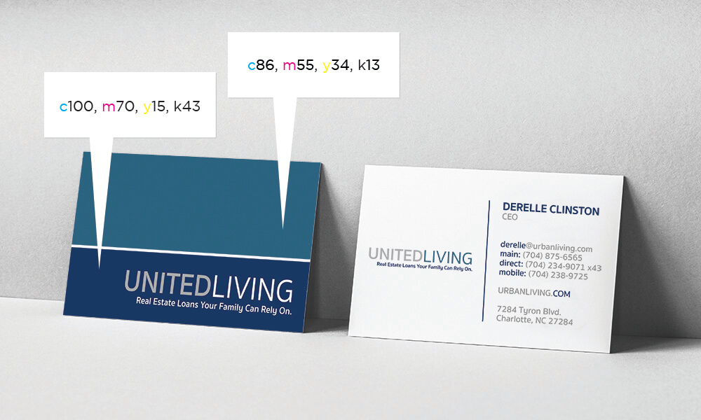 The business card displays two different shades of blue.