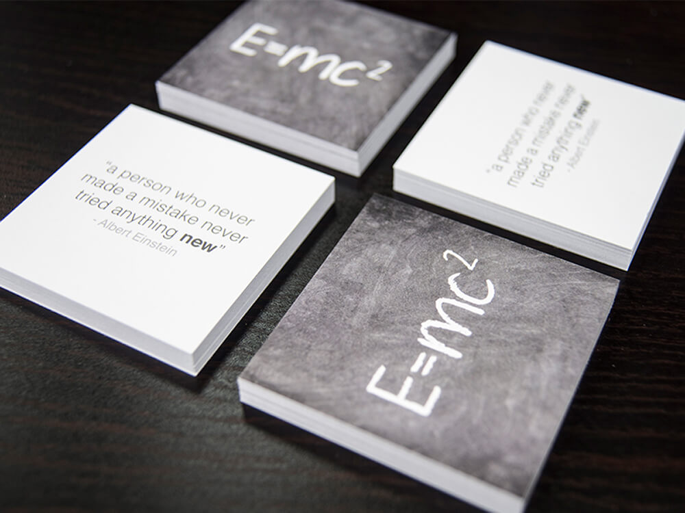 Square business cards are a great way to stand out among the sea of standard cards a potential client gets at a networking event.
