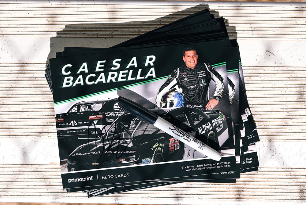Why Print Hero Cards? Hero Cards (Autograph Cards) provide a way to share race driver and sponsor information.