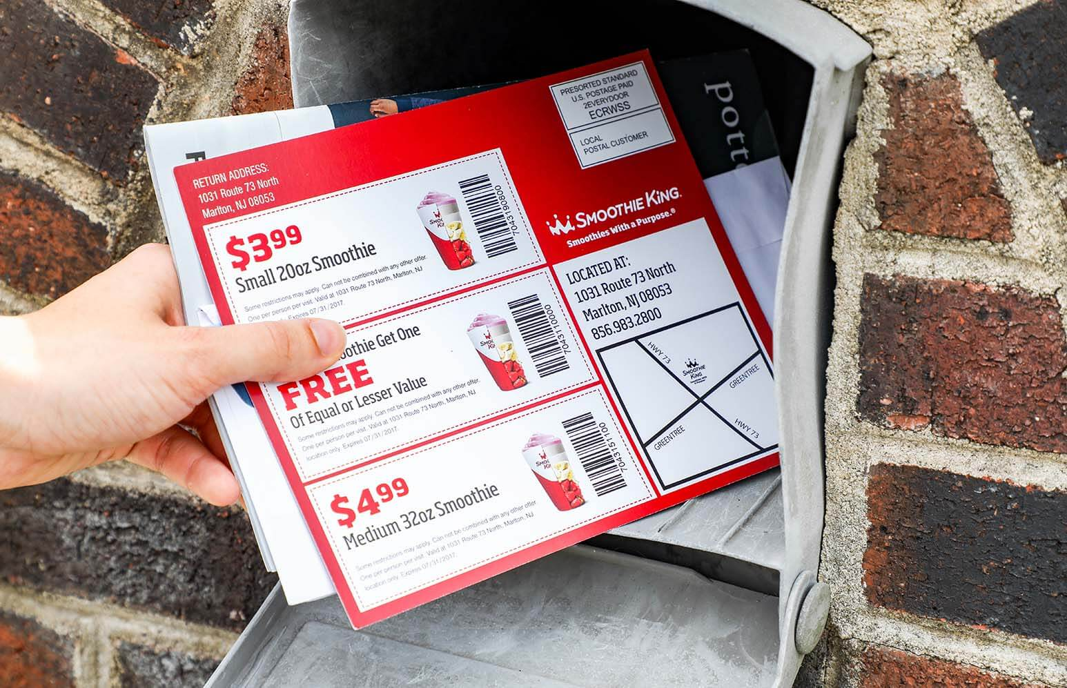 Marketing Smoothie King with EDDM® Postcards. Coupons grab the attention of those receiving them in the mail.