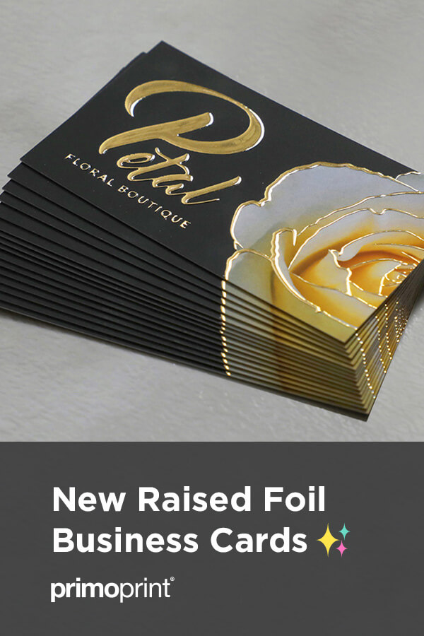 Make a powerful and lasting first impression with our Raised Spot UV, Raised Foil or Holographic business cards