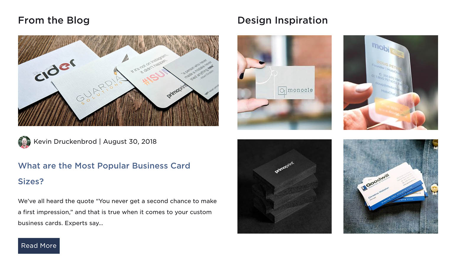 We've added the following information on our page: Business Card Design Inspiration and Blog Information to keep you up-to-date.