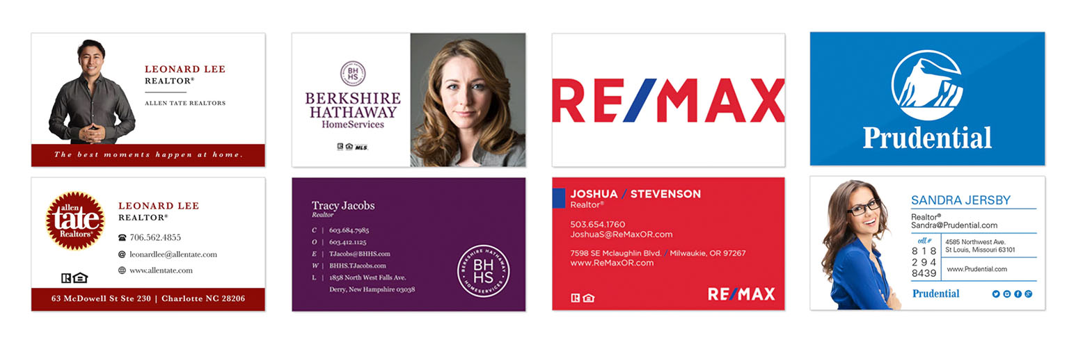 Select from hundreds of free horizontal realtor business card templates. Companies include Allan Tate, Berkshire Hathaway, ReMax, and Prudential.