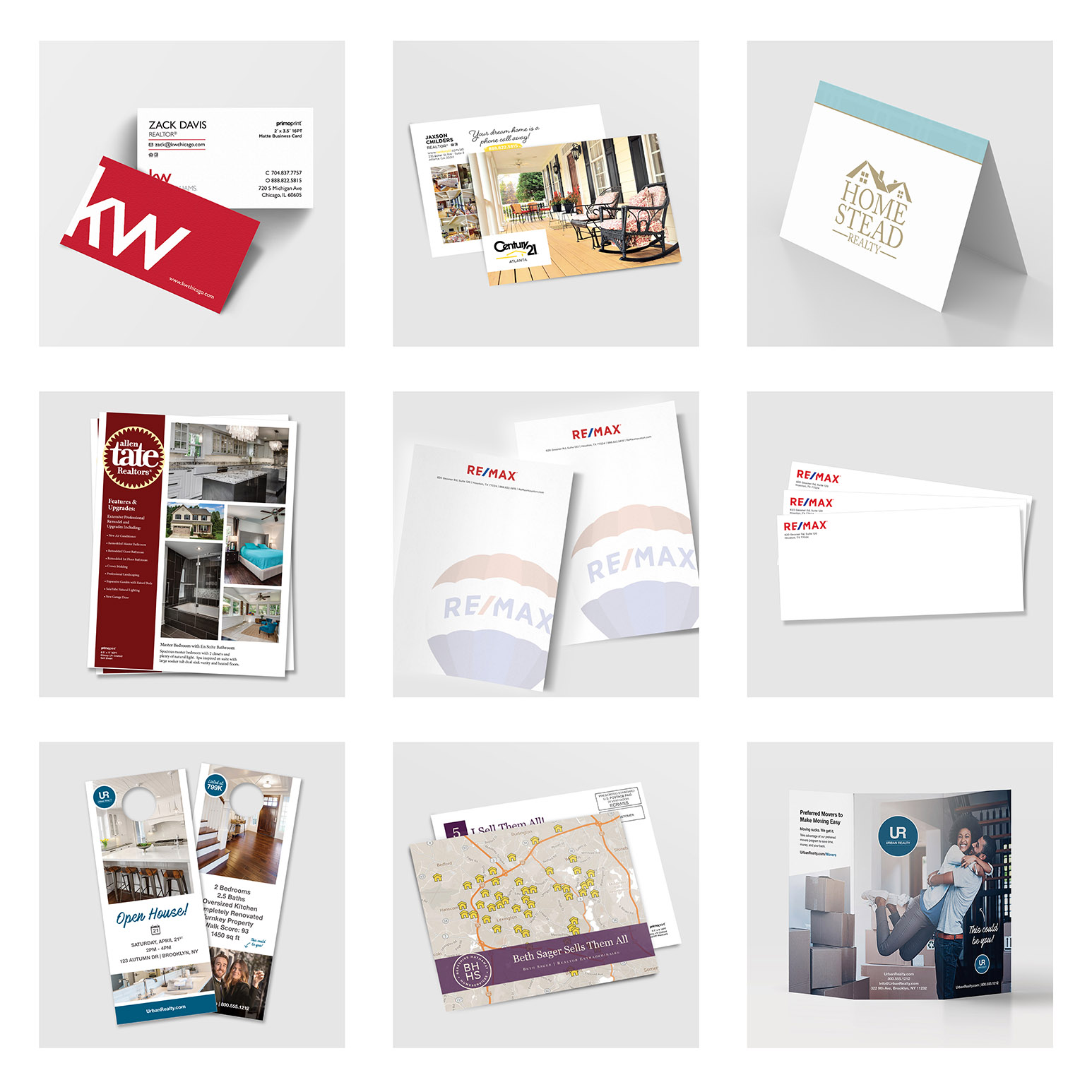 Our free real estate sample packet includes a variety of marketing products; business cards, postcards, door hangers, EDDM®, brochures, and more.