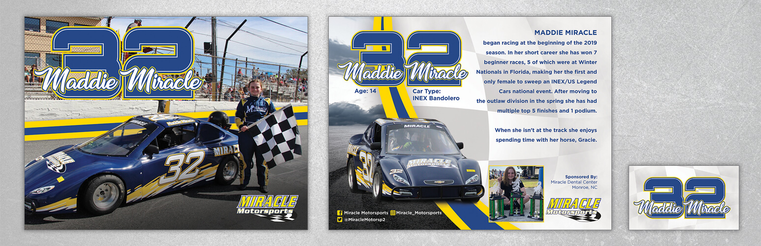 Custom hero card design for Maddie Miracle. Front and back design.