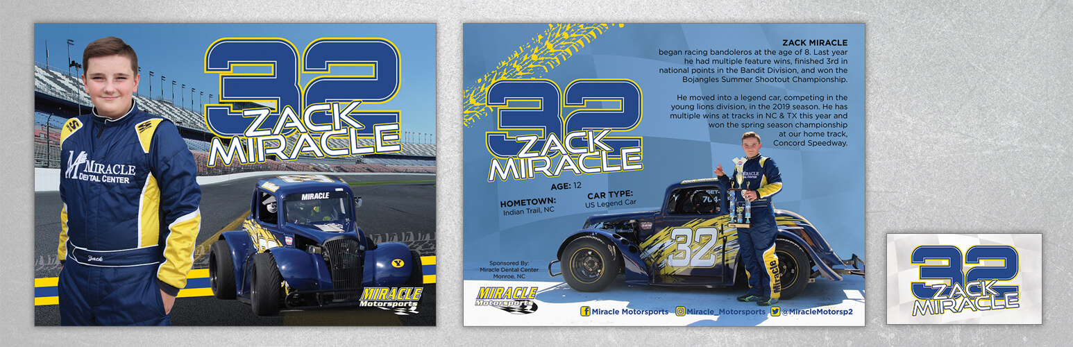 The front and back design of Zack Miracle custom hero cards.