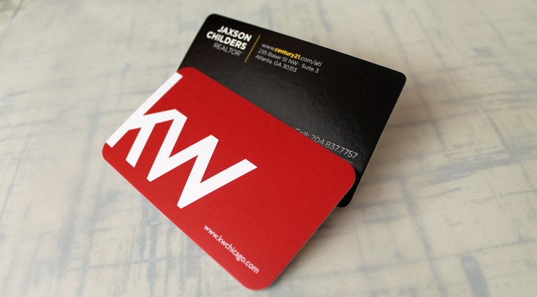 Glossy UV coated stock vs. Matte card stock which is not shiny, but still with a slight sheen.