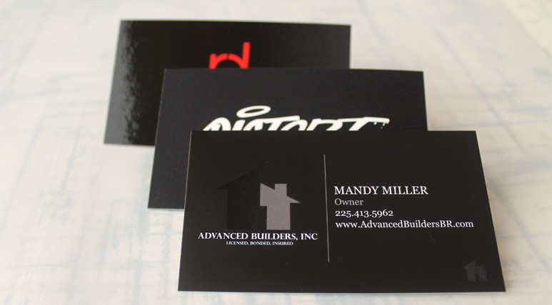 View the difference between Glossy, Velvet, and Silk Laminated card stock.