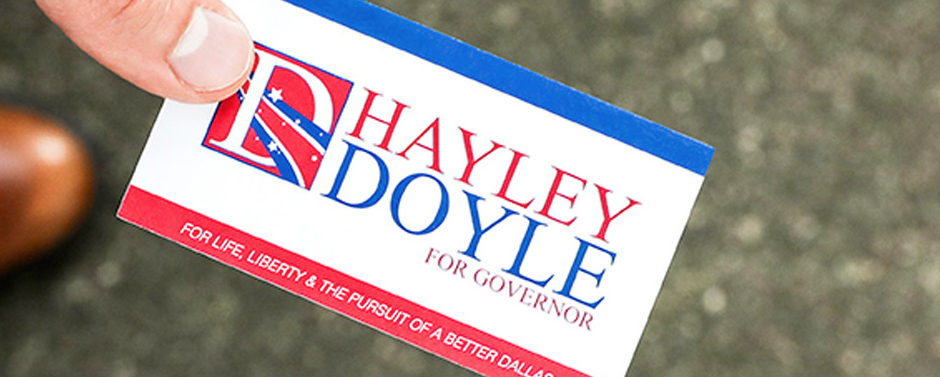 Business cards are easy to carry and hand out at campaign events.