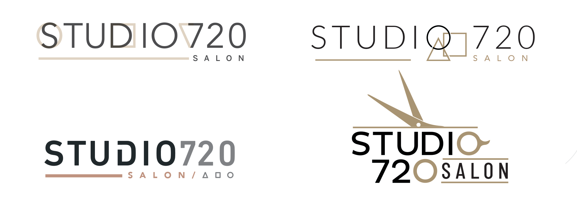 Liza, our in-house graphic designer created four logo options for Studio720 Salon