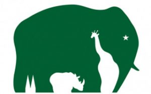 The main logo is an elephant, but look closely, hidden in negative spaces lurk a rhinoceros and giraffe.