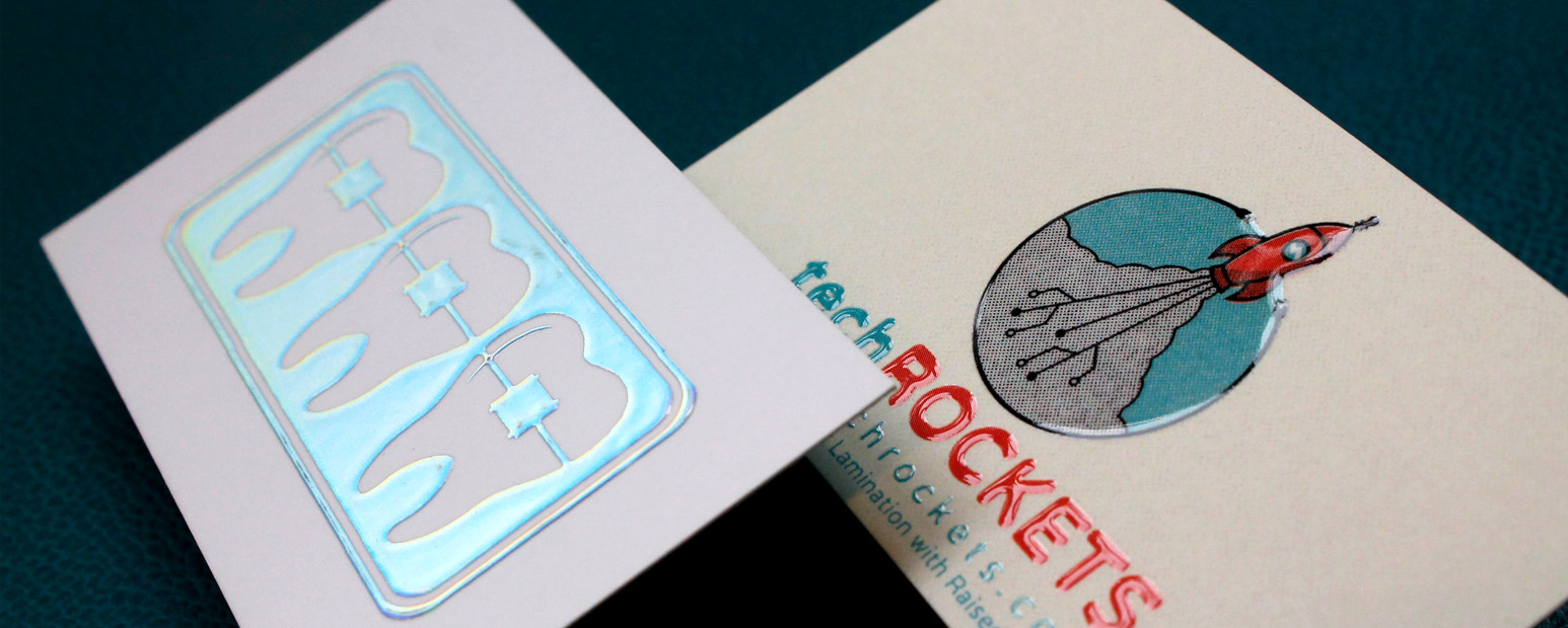 Raise your business card design to new heights with Raised Spot UV and Holographic Foil.