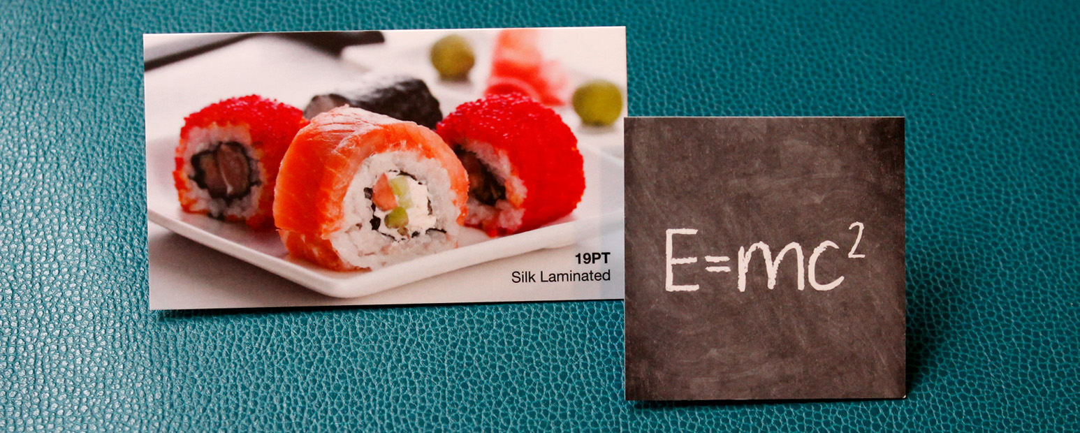 Choose from two premium card stock options; silk or velvet laminated.