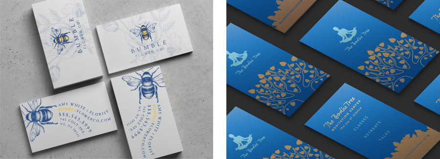 Business card designs with the Pantone Color of the Year Classic Blue.