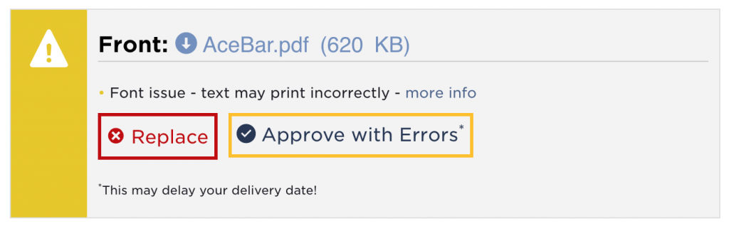Warning means your fonts are not outlined, and the appearance is not preserved.