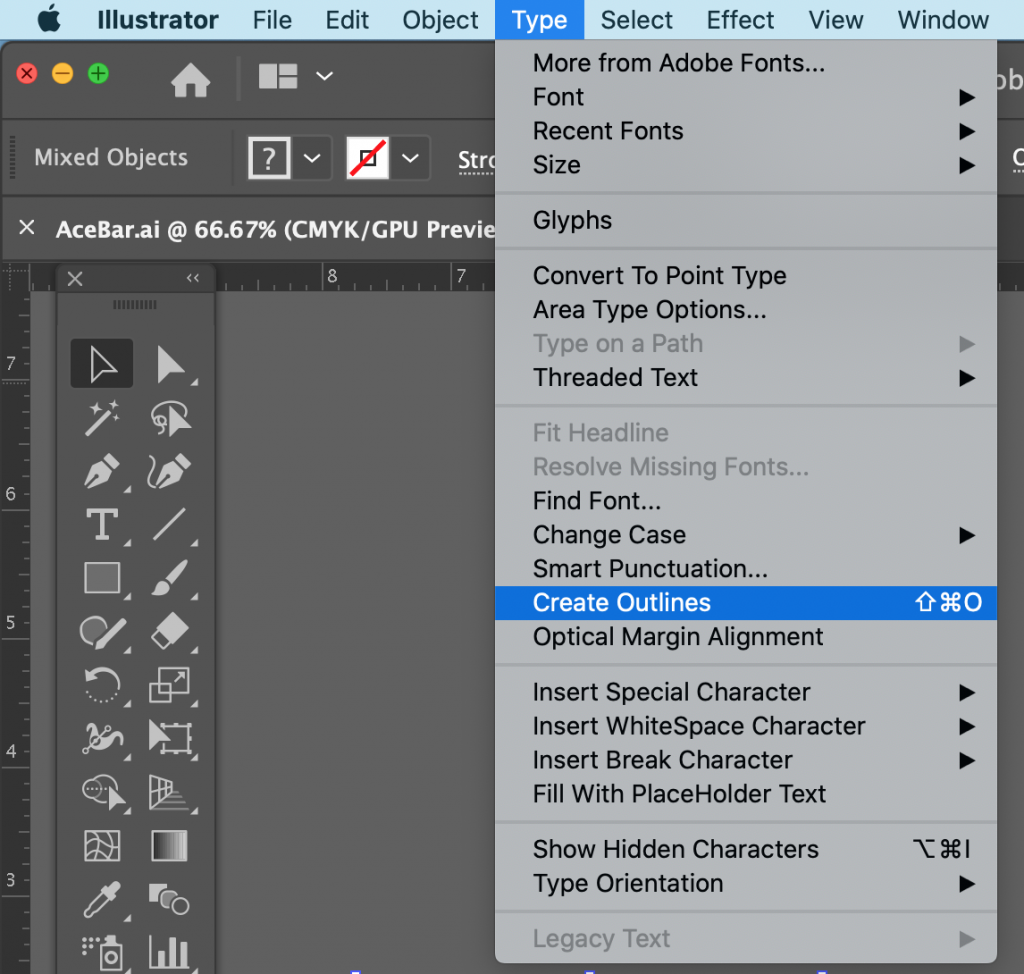 Please follow these three easy steps below to quickly outline your fonts: Using Adobe Illustrator