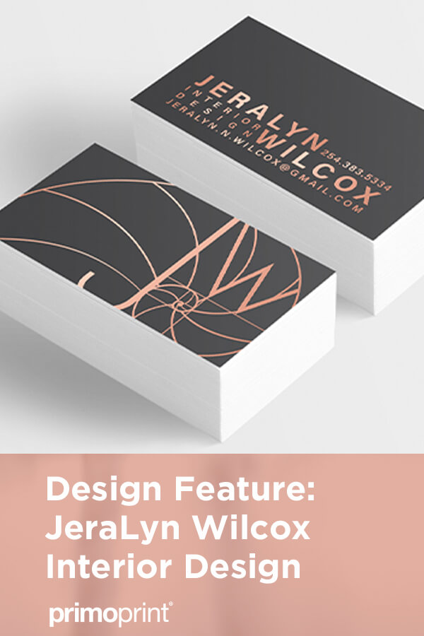 Our graphic designer Kelly worked closely with JeraLyn Wilcox Interior Design to create a vector version of their logo, custom-designed business cards, greeting cards, and envelopes.