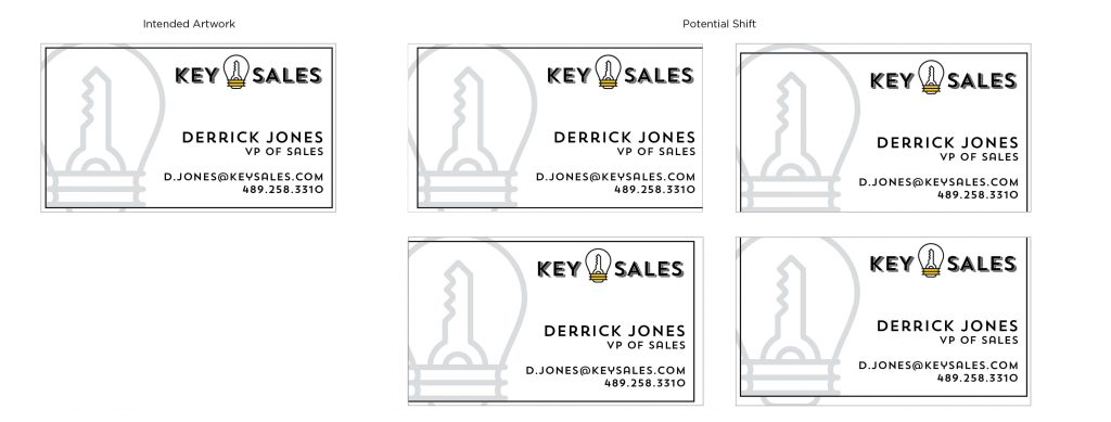 Here are some shift examples when cutting business cards