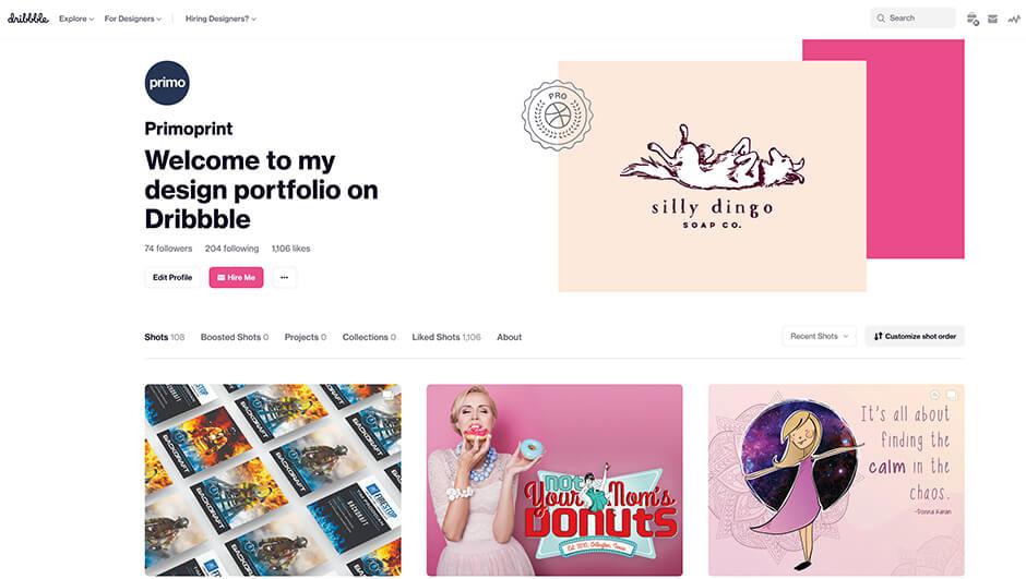 Take a look at Primoprint's Dribble portfolio.