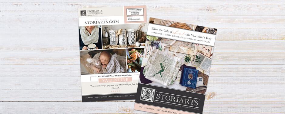 The final EDDM® Postcard design for StoriArts.