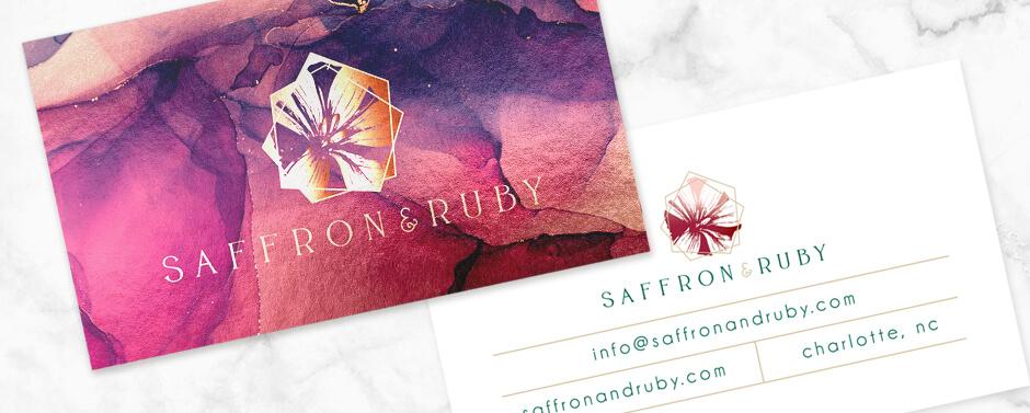 Custom business cards designed for Saffron & Ruby Etsy Shop